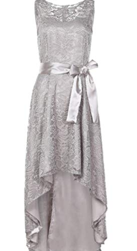 Women's Classic Lace Crochet Cocktail Sleeveless Belted Hi-lo Hem Long Dress 4 XXS