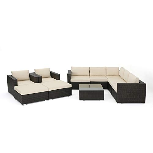Great Deal Furniture Karl Outdoor 7 Seater Wicker Sectional Sofa with Aluminum Frame, Multi Brown and Beige