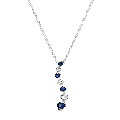 Diamond Prong Journey Pendant - Dazzlingrock Collection 18K Round Diamond & Blue Sapphire Ladies Graduating Journey Pendant, White Gold