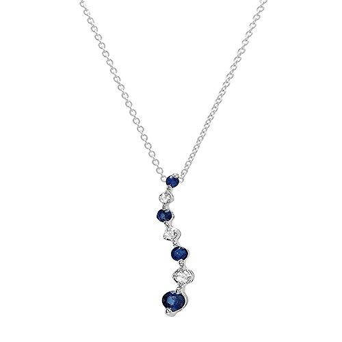 Dazzlingrock Collection 18K Round Diamond & Blue Sapphire Ladies Graduating Journey Pendant, White Gold