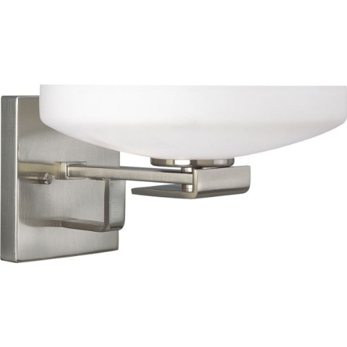 Progress Lighting P3149-09 2-Light Wall Bracket with Etched Opal Glass, Brushed Nickel