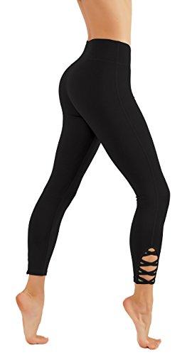 - CodeFit Yoga Pants Power Flex Dry-Fit with CRIS Cross Leg Cutouts 7/8 Length Soled Color Leggings Key Pocket (L USA 4-6, CF321-BLK)