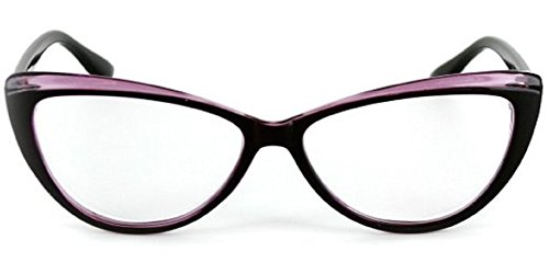 (Colorful Two Tone Cat Eye Reading Glasses for Women (Purple +1.75) Carrying Case Included)