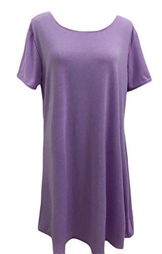 Alion Femmes Loisirs Sur La Taille Bouffante Mi Longue Robe D'été Solide Multicolore Manches Courtes Violet