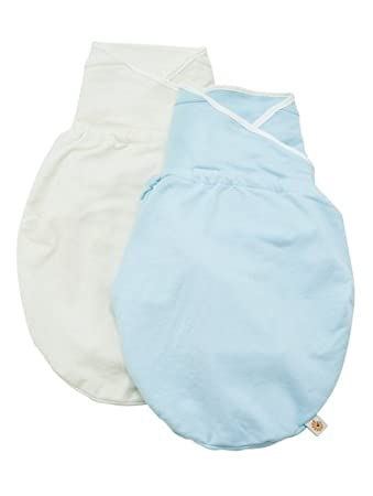 e6190103175 Amazon.com  Ergobaby Swaddler 2 pack - 100% Cotton Baby Swaddle Blanket -  Blue Natural - Small Medium (Discontinued by Manufacturer)  Baby
