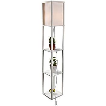 Simple Design Shelf Floor Lamp With White Shade 62 5 Inches Height Organizer Storage Shelf