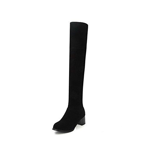 AllhqFashion Damen Rund Zehe Reißverschluss Hoch-Spitze Stiefel mit Metallisch, Schwarz, 43