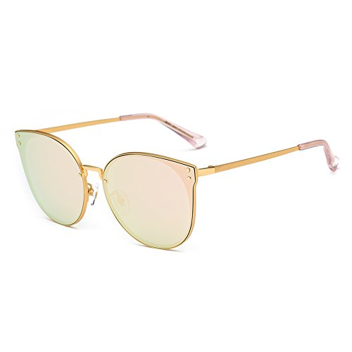 DONNA Trendy Oversized Mirrored Sunglasses Cat Eye Frame Circle Lens Hippie Hipster Style D09(Rose - Cat Eye Sunglasses Gold