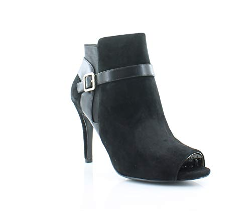Marc Fisher Womens Shimmee Suede Peep Toe Ankle Fashion Boots, Black, Size 7.5 ()