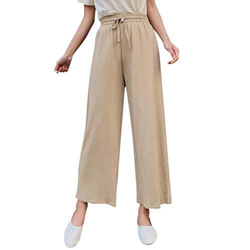 (JOFOW Womens Wide Leg Pants Capri Solid Casual Loose Long High Waist Straight Drawstring Workwear Fashion Gift Crop Trousers (M,Light Khaki))