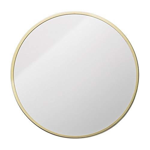 Mirror - Round Wall Mounted Bathroom, Home Metal Frame, Nordic Minimalist Style (Color : Gold, Size : 70cm) ()
