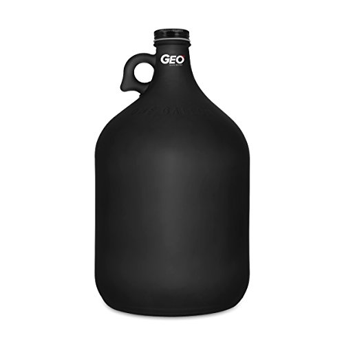 1 Gallon Frosted Glass Water Bottle Jug with 38 mm Metal Screw Cap (Black, 1)