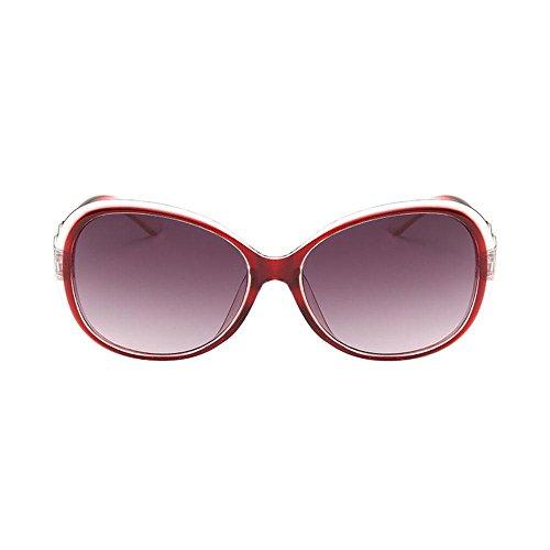 Rojo Mujeres Gafas para Conducción Redondos Ciclo las Gafas Vidrios del la Sol Marco Sol Vendimia de del los Verano de Metálico Aolvo de de de Transparente de 4SxwdqBqE