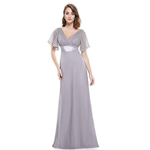 Tamaño Doble Ailin Noche Con En Mujer Home Cintura Para V color Vestidos 16 Gray De Largos Cuello tBwZ4Z