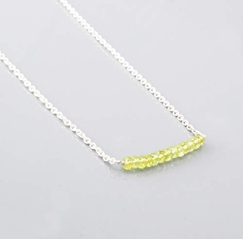Dainty Green Peridot Bar Necklace with Sterling Silver Chain 16