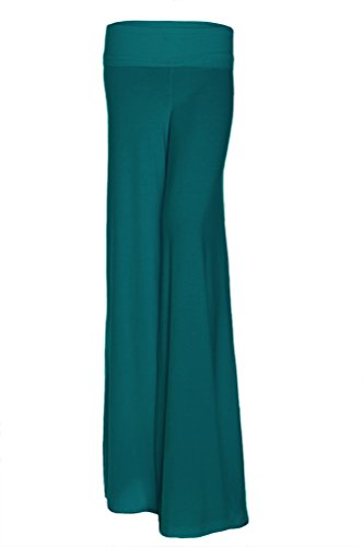 Women's Fashion Wide Leg Flare Comfy Yoga Dance Fold Down Waist Pants USA Teal 3XL
