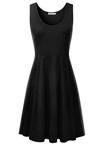 Jevvia Mujer Vestidos Elegantes Sin Mangas Básico Vestido Delgado para Noche Fiesta Rockabilly Vestido De Coctail Negro