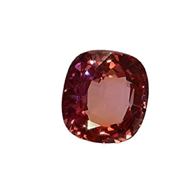 Lab Padparadscha Sapphire Cushion Unset Loose Gem 12mm X 11mm from uGems