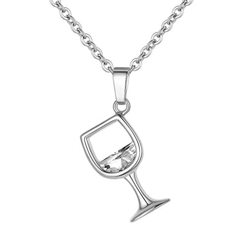 Wine Glass Bottle Pendant Necklace,Crytech Dainty Cubic Zirconia Crystal Inlay Goblet Clavicle Chain for Women Girl Ladies Fashion Jewelry Birthday Chiristmas (Silver)
