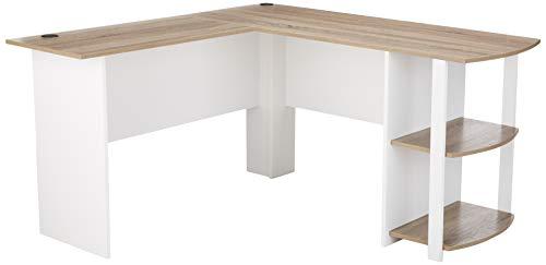 quality design 3dce2 5e287 Ameriwood Home Dakota L-Shaped Desk with Bookshelves, White/ Sonoma Oak