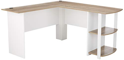 - Ameriwood Home Dakota L-Shaped Desk with Bookshelves, White/ Sonoma Oak