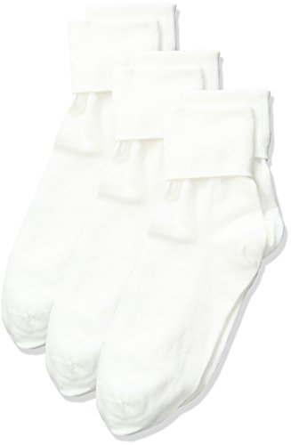 No Nonsense Women's Cotton Basic Cuff Sock 3-Pack, White, 4-10 -