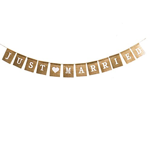Buorsa Just Married Bunting Hanging Banner Wedding Western Party Decoration Burlap Banner(1-Set)