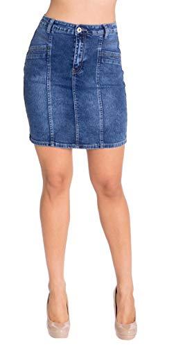 Women's Casual Short Stretch Denim Mini Skirt in Bleached Blue Size -