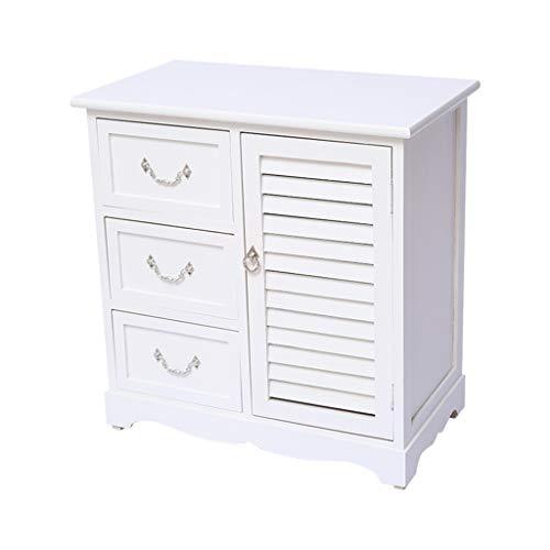 Bedside table GJM Shop Solid Wood Three Drawers+Louvered Door Lockers Bedroom Furniture Bedside Cabinet (Color : - Louvered Door Solid