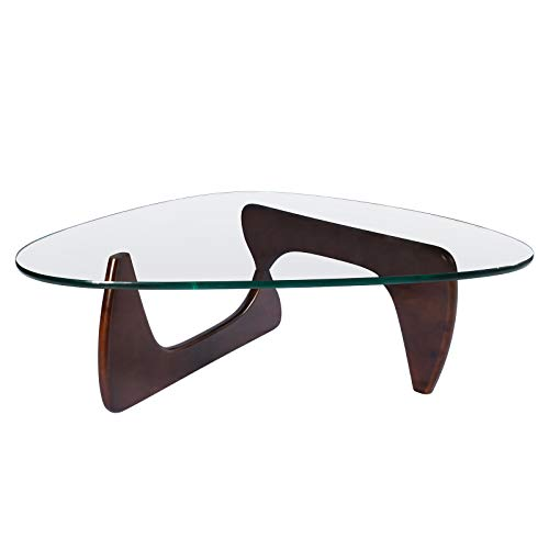 (Rimdoc Triangle Glass Coffee Table,Vintage Glass and Wood End Table, Solid Wood Base and Triangle Clear Glass Top Modern End Table for Living Room,Patio (Dark Walnut))