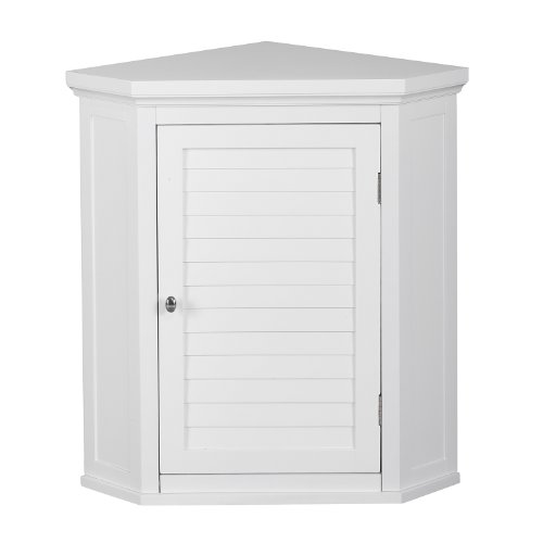 Elegant Home Fashions Adriana Corner Wall Cabinet with 1-Shutter Door (Cabinet Corner White Bar)
