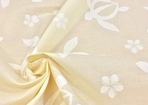 ハワイアン 生地 【生成り】ホヌ・プルメリア柄 布 布地 手芸 フラダンス用品・衣装、カーテンやクッションカバーなどのインテリアなどにもオススメです。【1m単位】の商品画像