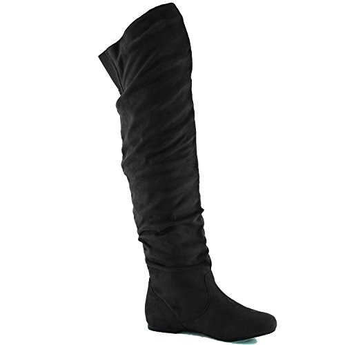 HI Women's Nature Slouchy Black Breeze the Boots Over Suede VICKIE Knee qBqtxnTw