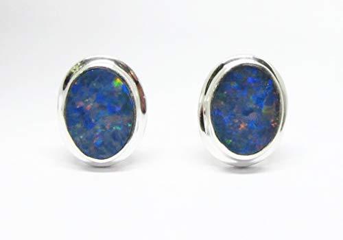 Sterling Australian Opal Doublet - handmade 925 sterling silver australian doublet opal stud earrings, genuine doublet opal stud earrings 6 * 8 mm, oval shape doublet opal stud earrings