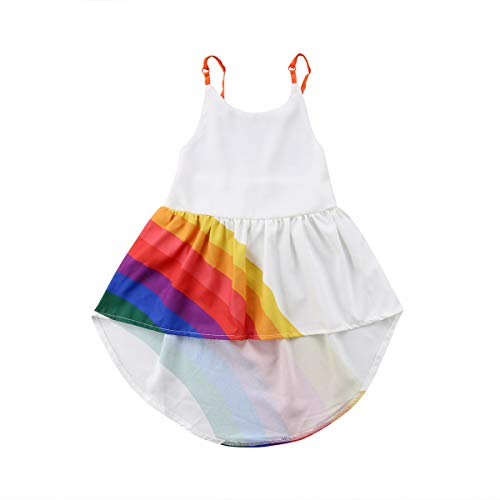 doublebabyjoy Infant Baby Rainbow Print Spaghetti Straps Sleeveless Backless High Low Dress Toddler Girl White Summer Cute Cami Dress 1-6T (White, 5-6 Years)