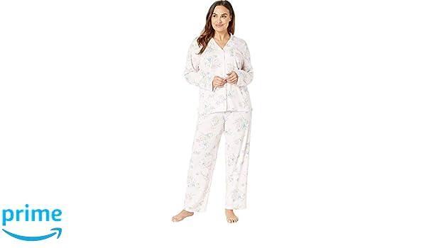 6804483a Lauren Ralph Lauren Women's Plus Size Knit Notch Collar Pajama Set ...