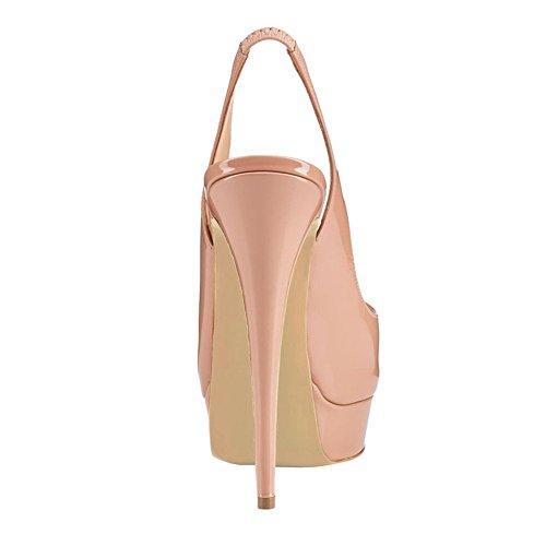 Peep Strap Womens Pumps Heel Platform Shoes Ankle Paltform Nude Slingback Toe Court Dress uBeauty High Sandals AxOYqqw