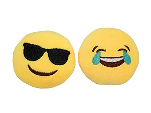 Syleia Emoji Set of 2 Face With Tears of Joy and Smiling Face With Sunglasses Yellow Bright Plush Toy, Backpack Purse Accessory, Party Favor, ()