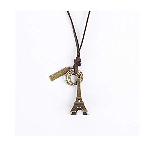 (CHUYUN Vintage Paris Eiffel Tower Pendant Necklace Long Leather Chain Sweater Necklace (Brown))