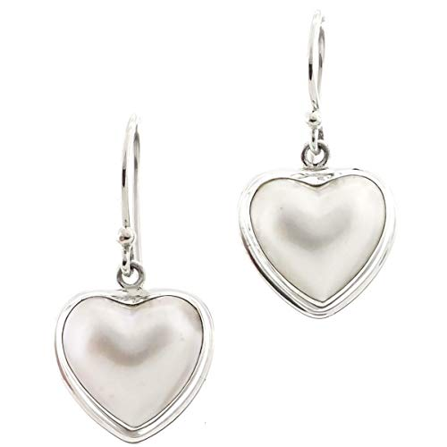 - 9/16'' Heart South Pacific White MABE Pearl Shell 925 Sterling Silver Earrings YE-364