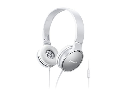 Panasonic Premium Sound On Ear Stereo Headphones RP-HF300M-W with Integrated Mic and Controller, Travel-Fold Design, Metallic Finish, White