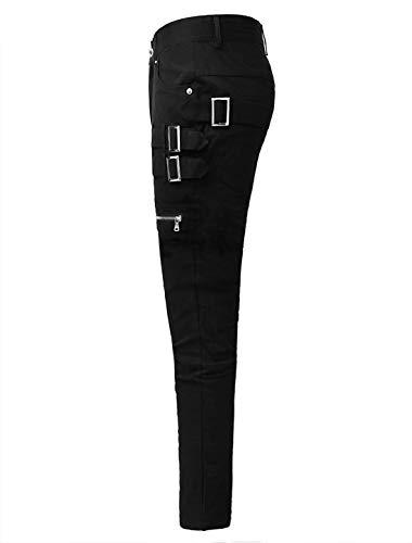 ce80457ef3b6a uxcell Men Casual Slim Fit Pockets Patch Buckle Zipper Gothic Punk Rock  Pants