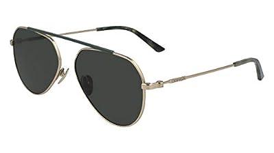 Calvin Klein 717 Aviator Sunglasses, Satin Gold/Green, 58mm, 15mm, 145mm