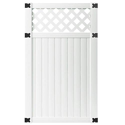 Outdoor Essentials PicketLock 3-1/2 ft. x 6 ft. Olympia White Vinyl Lattice Top Fence Gate