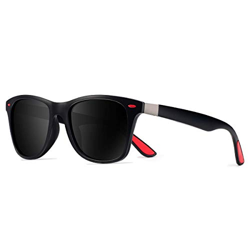 Uv400 Eyewear - CHEREEKI Polarized Sunglasses Trendy Stylish Sun Glasses UV400 Protection for Men and Women Retro Classic Sunglasses Eyewear (Black-Red)