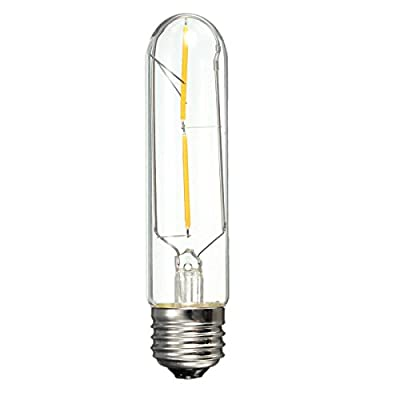 KINGSO 1 Pack E27 2W T10 Cob Led Vintage Light Retro Edison Style Screw Technology 20W Incandescent Bulb Equivalent Tubular Nostalgic Filament Not Dimmable Warm White 2700K 200lm Amber Tinted ¡