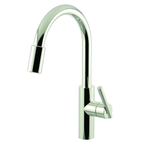 Kitchen Single America Lever Faucet (Newport Brass 1500-5103/15 Polished Nickel East Linear Kitchen Faucet with Metal Lever Handle and Pull-down Spray)