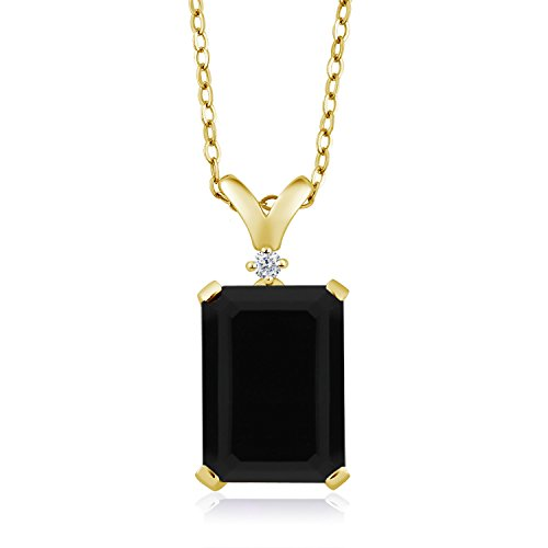 Gem Stone King 18K Yellow Gold Plated Silver Black Onyx and Diamond Women'a Jewelry Pendant Necklace, 14X10MM Emerald Cut, 5.02 Cttw,