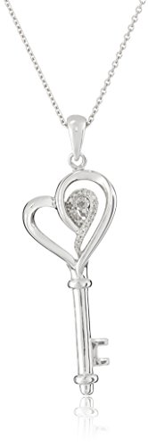 Jewelili Sterling Silver Diamond Heart Key Pendant Necklace, 18