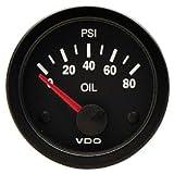 "VDO 350104 Vision Style Electrical Oil Pressure Gauge 2 1/16"" Diameter, 80 PSI"